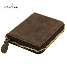 LEVELIVE Brand Men Wallets Vintage Crazy Horse Genuine Leather Zipper Wallet Card Holder Coin Pocket Men's Purse Male Carteira
