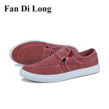 2017 Men Jeans Canvas Shoes Breathable Slip On Men Flats Casual Shoes Driving Loafers Red Gray