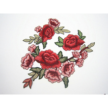 Embroidery Patches For Clothing 1Pcs Mulity Red Flowers Sew On Patches Punk Motif Applique DIY Accessory Clothes Stickers