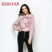 Buy Solid color bow collar ruffles designer long sleeve slim blouses shirts 2017 new casual women's tops female 3808 for $29.67 in AliExpress store
