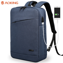 Aoking High Quality USB Charging Special Pocket Business Backpack Women Unisex Men's Two Style Functional Backpacks for Laptop(China)