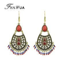 FANHUA Ethnic Earrings Bohemian Antique Gold Color with Blue Red Beads Geometric Water Drop Chandelier Earrings for Women
