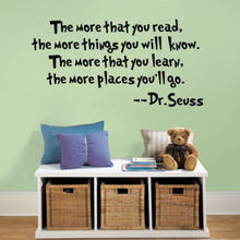 DR SEUSS Quote MORE THAT YOU READ YOU KNOW Wall Decor Quote Vinyl Decal Sticker