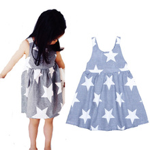 Hurave Summer Girls Dresses 2017 Toddler Girl star dresses A-Line Princess Dress Girl Clothes Robe Fille Enfant