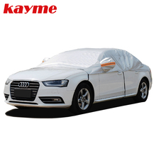 Kayme aluminum half car cover waterproof car sun umbrella sun protection universal covers sunshade windscreen protectors S M XL(China)