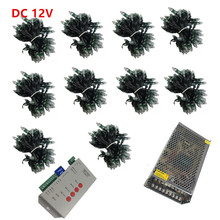 1000pcs WS2811 led Pixel Modules DC12V 12mm IP67 RGB input Digital Full Color LED Pixel + T1000S Controller + Power adapter