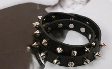 Punk Gothic Rock Two Row Metal Cone Stud Cuspidal Spikes Rivet Leather Wristband Bangle Wide Cuff Bracelet For Men Women jewelry