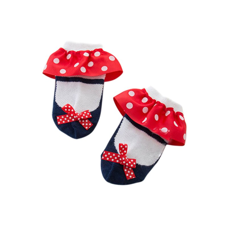 Newest Sweet Toddler Baby Socks Girl Slippers Dots Princess Lace Soft Cotton Short Socks(China (Mainland))