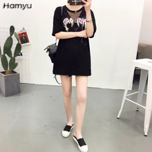2017 Wome Classic Design Printed Black Short Sleeve T-shirt With Mesh Fishnet Classic Loose Long Length Top Tees