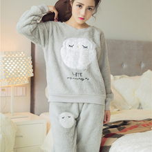 Women's coral fleece nighty sleepwear cute owl pattern autumn & winter ladies long-sleeve pajamas nightwear nightgown set(China)