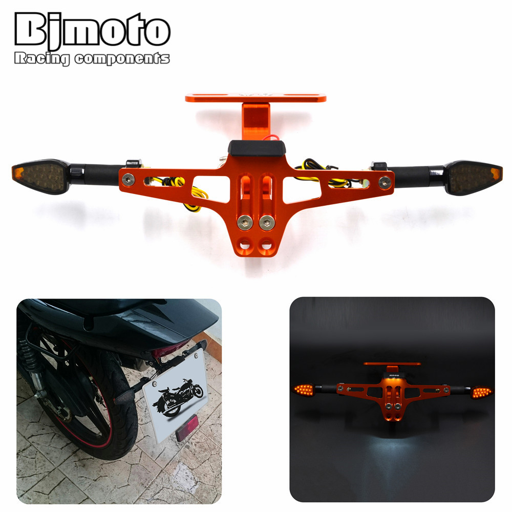 New Adjust Motorcycle License Plate Bracket Licence Plate Holder Number Plate Hanger Tail Tidy Bracket with Turn Light Universal<br>