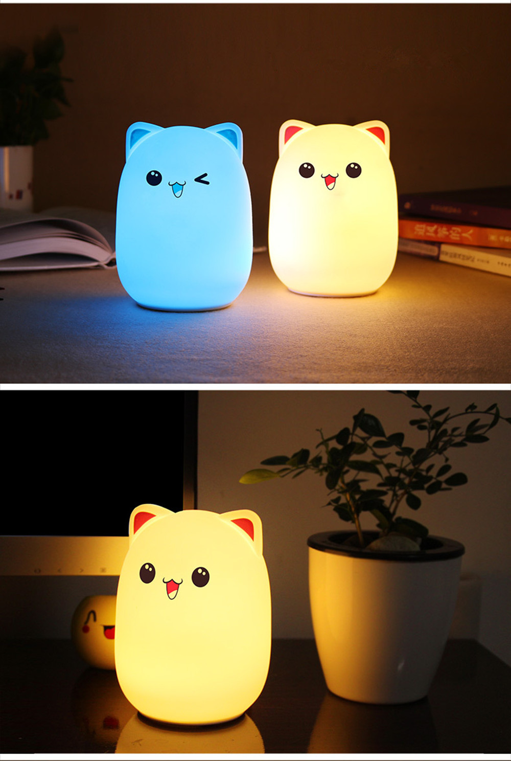 Colorful LED Night Light Lovely Silicone Cartoon Bear Rechargeable Touch Desk Bedroom Decor Tablet Lamp for Kids Girl (3)