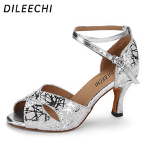 DILEECHI Latin dance shoes female sandals adult silver dance shoe Ballroom dancing  shoes Salsa square dance shoes soft outsole deb34239f7a2