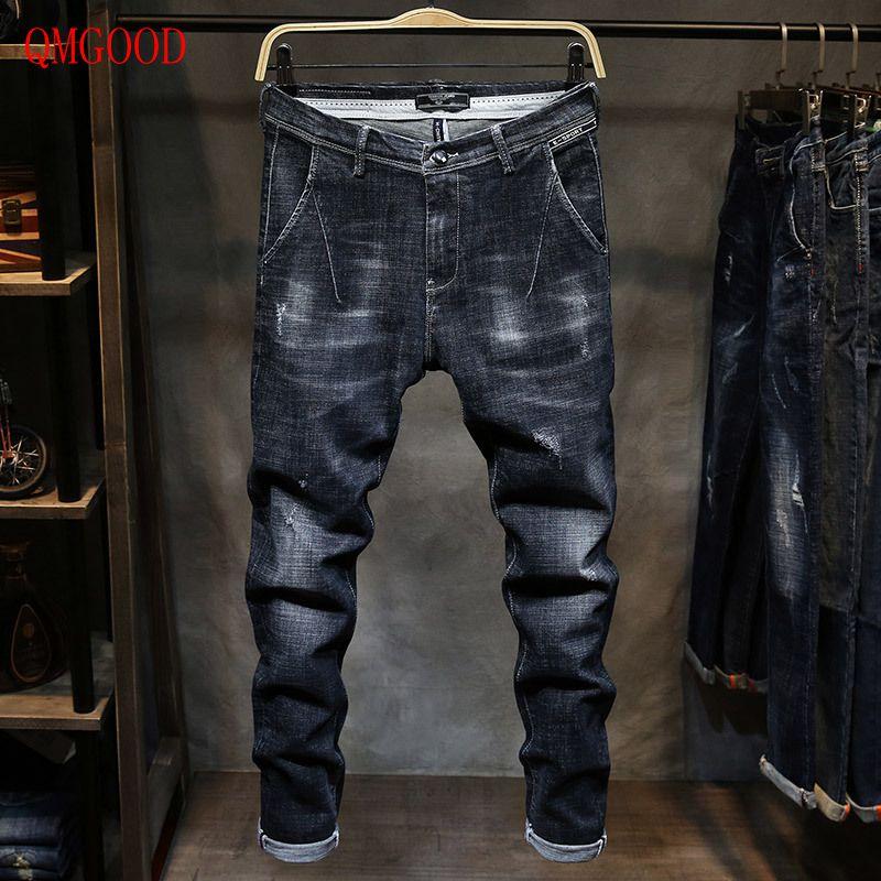 QMGOOD New Mens Jeans Fashion Casual Brand Jeans Large Sales of Spring Summer Jeans Fashion Slim Jeans Mens Trousers 28-36Îäåæäà è àêñåññóàðû<br><br>