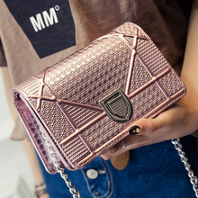 Famous designer brand 2017 Women Messenger Shoulder Bags Patent Leather Clutch Chain Evening Socialite Tote  Main Female Sequins
