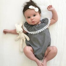 Newborn Baby Girl Jumpsuit Children Bodysuit High Quality Cotton Plaid Outfit Baby Cloth