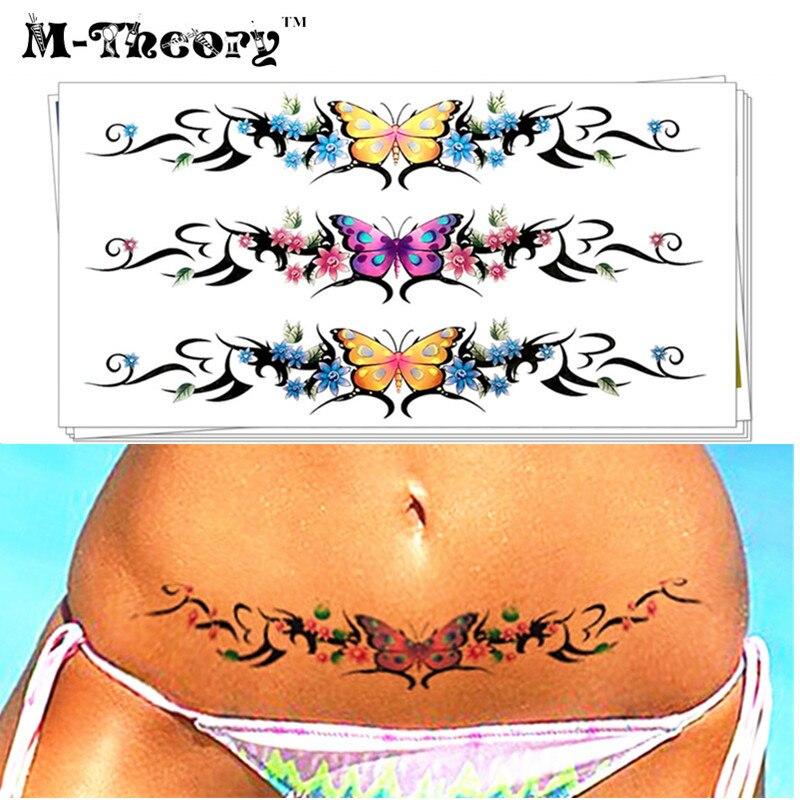 M-Theory Sexy Butterfly Choker Makeup Temporary 3d Tattoos Sticker Flash Tatoos Henna Tatto Body Art Sticker Bikini Makeup Tools