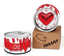 Free Shipping Valentine's Day 2pcs/lot Love Gift Sweety Clock Kitchen Fridge Magnets Aluminum Can Wall Clocks,Metal Tin Clocks