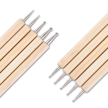 5Pcs 2 Way  Professional Nail Art Dotting Pen Marbleizing Wooden Tool Nail Art Dotting Tools #8141989