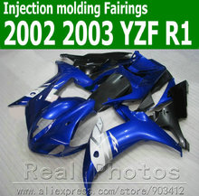 100% Injection molding motorcycle parts for YAMAHA fairing kit 2002 2003 white blue black fairings YZF R1 02 03 JK62(China)