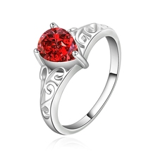 Red Gem Ring Water Drop Design Romantic Jewelry Silver Plated Inlaid Stone CZ Zircon Ring European Brand Fashion Crystal Jewelry