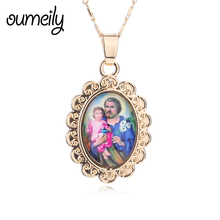 OUMEILY Charms Necklaces For Women Men Gold Color Imitated Crystal Jewelry Pendant Jesus Statement Rhinestone Dress Accessories