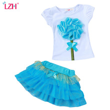 LZH Girls Clothes Set 2017 Summer Kids Clothes Girls Flower T-shirt+Tutu Skirt 2pcs Set Girls Sport Suit Children Clothing Sets