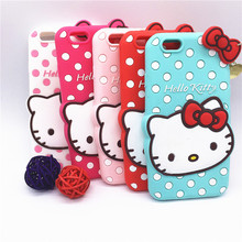 "3D Cartoon Hello Kitty Case Pendant Bowknot Soft Silicon Cover for Apple iPhone 4 4S & SE 5 5S 5C & 6 6S 4.7"" & 6 6S Plus 5.5"""