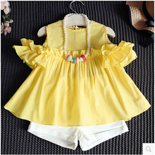 Boutique Kids Clothing Set Summer Girls outfits Lovely Toddler Clothes Tops + Short Pants Pink Yellow 2T 3T 4T5 6 7