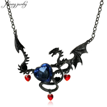 2017 Personality Vintage Necklace Jewelry Women Blue Crystal Heart Necklace Dragon Necklaces Costume jewelry Drop Shipping 1pcs(China)