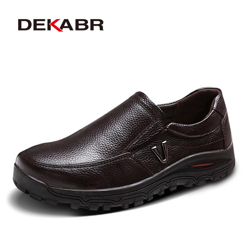 DEKABR Mens Genuine Leather Shoes Business Dress Moccasins Flats Slip On New Mens Casual Shoes Dress Mens Business Shoes 38-48<br>