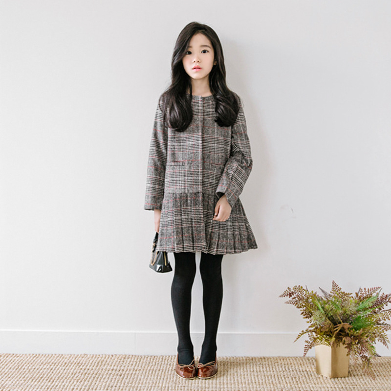 2017 Direct Selling Top Fashion Cotton The British Grid Retro Korean Long Sleeve T-shirt Pendulum Autumn Plaid Jacket Dress <br>
