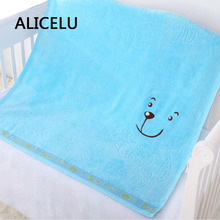 ALICELU Cotton Modal Fiber Plush Yarn Environmental embroidery Animation Bear Baby  Bath Towel Sofa Air Conditioning Blanket
