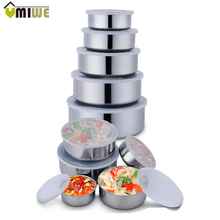 5Pcs/set Stainless Steel Crisper Sets Food Container Refrigerator Crisper Storage Box Mixing Bowls Airtight Lids Preserving Box(China)
