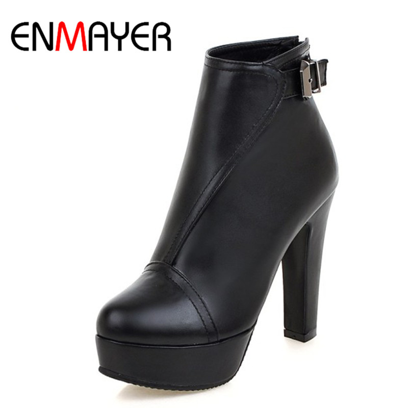 ENMAYER New FashionHigh Heels Round Toe Platform Shoes Woman Black Shoes Sexy Red Zippers Ankle Boots for Women Large Size 34-43<br>