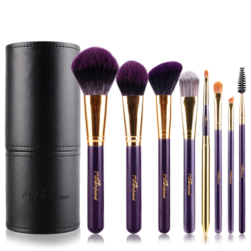 Professional Makeup Brush Set 8pcs Soft Synthetic Hair Make up Brush With Black PU Leather Cylinder For Beauty<br>