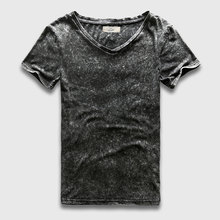 Zecmos Vintage Black T-Shirt Men China Size Fashion Heavy Washed T Shirts For Men Slim Fit V Neck Top Tees Male Short Sleeve(China)