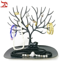 Black Deer Tray Accessories Holder Plastic Ring Bracelet Earring Necklace Glasses Showing Organizer Display Tree Shelves Holder(China)