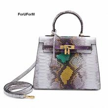 ForUForM Luxury Brand Genuine Leather Snake bags for women shoulder messenger bags casual tote hobos handbag with lock-SLI-166