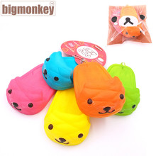 Big monkey NEW 40pcs/Lot, 7CM PU  Kawaii Mini Lovely expression of Cartoon slipper  Squishy Cell Phone Charm with tag