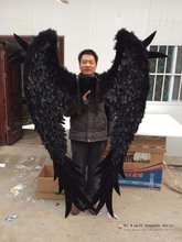 Adults' Beautiful Dolphin Angel feather wings for Fashion show shooting COS props Pure handmade Black white fairy wings