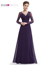 Formal Evening Dresses Ever Pretty EP08692 Women's Elegant V-neck Long Sleeve Lace Plus Size Evening Dress(China)