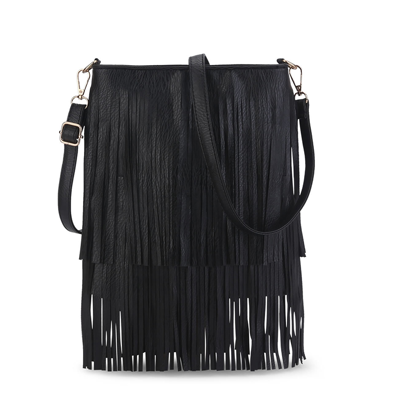 2017 Women Black Tassel Bag Classic Flap Bag PU Leather Small One Shoulder Crossbody Bags for Woman Day Clutches Mini Handbag<br><br>Aliexpress