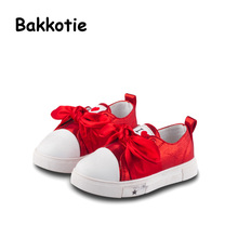 Bakkotie 2017 Autumn Baby Shoes Red Kid Brand Toddler Girl Leisure Sneaker Bow Breathable Black Shoe Child Shoe Pink Soft Sole