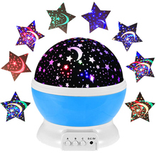 2016 Hot Romantic Rotating LED Starry Sky Star Moon Projector Night Light Rotation Projection Lamps Kids Bedside Table Lamp