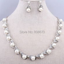 Free Shipping Faux Pearl Necklace And Earrings Jewelry Set Luxury Wedding Bridal Jewelry(China)