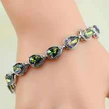 Buy Water Drop Rainbow Mystic Cubic Zirconia 925 Sterling Silver Charm Bracelet Women for $7.27 in AliExpress store