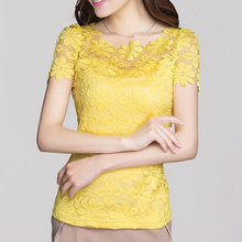 2017 NEW Summer Style Women Blouses Shirts Women Clothing Casual Lace Blouse Sexy Floral Sheer Blouses Tops yellow(China)