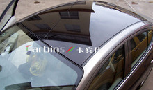 High glossy car panoramic sunroof membrane , bubble free black shining car sunroof wrap vinyl film  1.35*15m