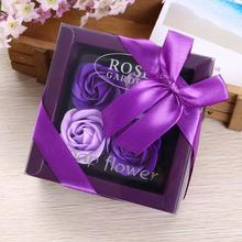 4Pcs/Box Soap Rose Flowers Essential Oil Set Romantic Lover Valentines Day Birthday Wedding Gifts Body Flowers Bath Cute Gift 5